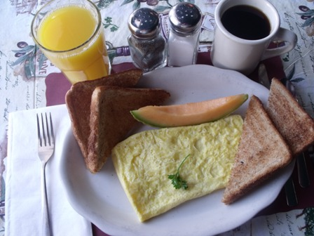 Omelette for breakfast at Mama Leone's